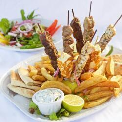 Blue Spice Restaurant Souvlaki With French Fries