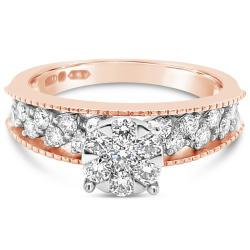 Rose And White Gold Ring With Natural Diamonds
