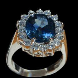 Costas Giannopoulos And Son Blue Sapphire Diamond Ring