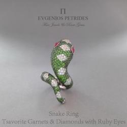 Evgenios Petrides Snake Diamond And Ruby Ring