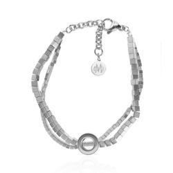 Stainless Steel Chain And Clasp And Silver Bracelet With Semi Precious Stones