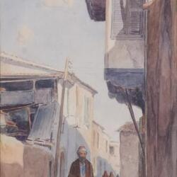 Ioannis Kissonerghis 1889 1963 A Street In Old Nicosia Watercolour On Paper