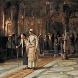 Theodoros Rallis Le Pain Benit Oil On Canvas