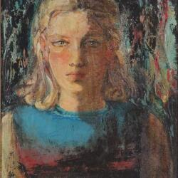 Victor Ioannides Portrait Of A Girl 1967 Oil On Plywood