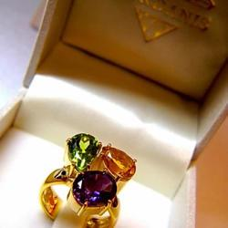 Peridot Amethyst And Citrine Gold Ring By Iordanis Jewelry