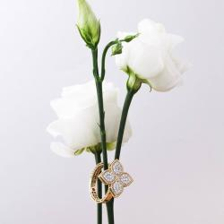 Michalis Diamond Gallery Golden Ring Princess Flower