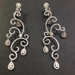 Gold Earrings With White Gold Diamonds