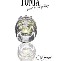Diamond Green Amethyst Ring By Tonia Jewellery