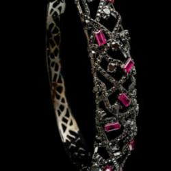 Bacchus Collection Ruby Black Diamond And Black Gold Bangle