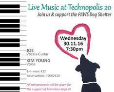 Live Music at Technopolis 20 for the support of the PAWS Dog Shelter
